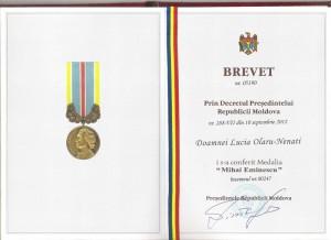 1. Brevetul si Medalia M. Eminescu, Chisinau, 2013 [800x600]