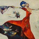 """Expoziţia de pictură Petru Damir:  """"Clipa ce zboară- Lady in red"""""""