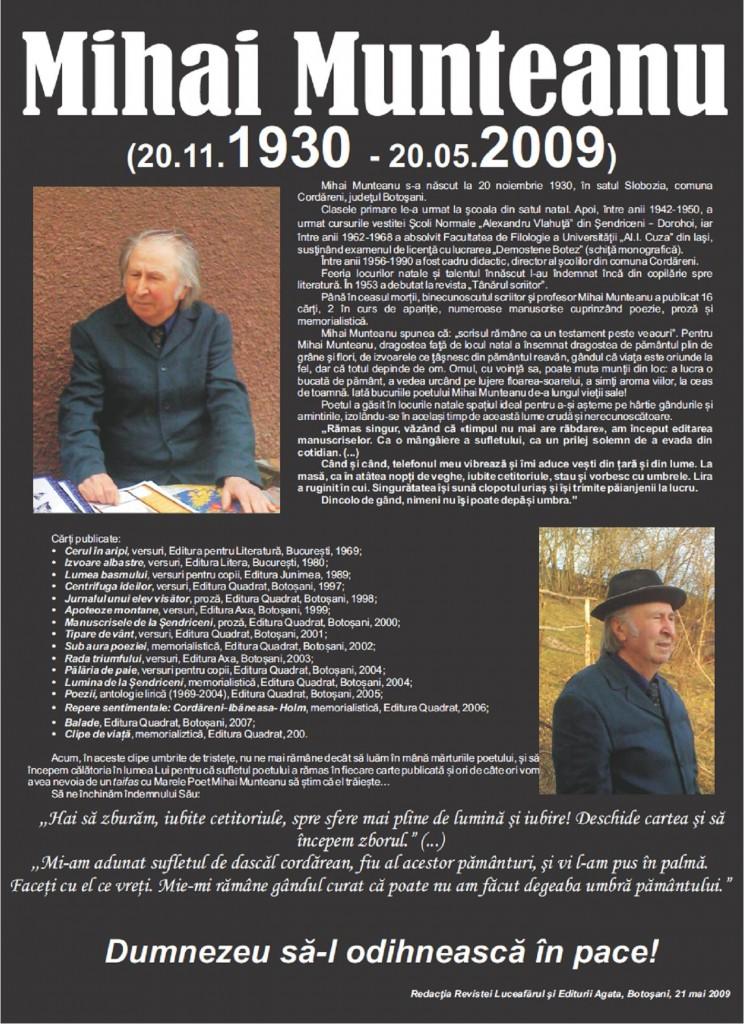 Afis-necrolog Mihai Munteanu