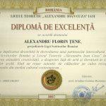 """Știre de interes cultural. Scriitorul Al.Florin Țene distins cu """"Diploma de Excelență"""" de conducerea Liceului Teoretic """"Alexandru Ioan Cuza """" din Iași"""