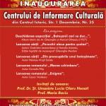 """Invitație la inaugurarea Centrului de Informare Culturală ,,Luceafărul"""""""
