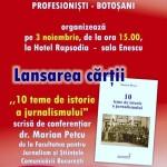 """Lansare de carte: ,,10 teme de istoria jurnalismului"""" - o carte scrisă de dr.Marian Petcu"""