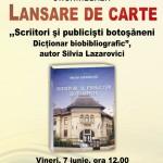 """Invitație la lansarea cărții ,,Scriitori și publiciști botoșăneni.Dicționar biobibliografic"""""""