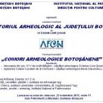 """Invitație: Lansarea volumului ,,Repertoriul Arheologic al Judeţului Botoşani"""""""