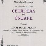 Alocuţiunile festivităţii de acordare a titlului de Cetăţean de Onoare  doamnei  prof. dr. Lucia Olaru Nenati