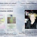 """Lucia OLARU NENATI, la vremea miresmelor teiului eminescian. Lansarea cărţilor: ,,Scrisori din prezentul meu"""" – publicistică - şi ,,Parabola vulturului"""" – proză scurtă"""