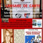 Lansare de carte: Corneliu Filip - sâmbătă, 16 nov. 2019, ora 11:00, Sala Expoziției Scriitorilor Botoșăneni