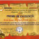 Premiul de excelență. Scriitorul Alexandru Florin Țene a fost premiat pentru strălucita sa operă literară